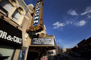 Michigan Theater, in Ann Arbor, highlighting Ann Arbor Polish Film Festival on theater sign